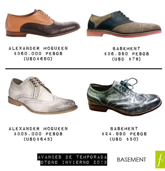 Zapatos Basement, inspiración McQueen. a 36.990 y 24.990 respectivamente.