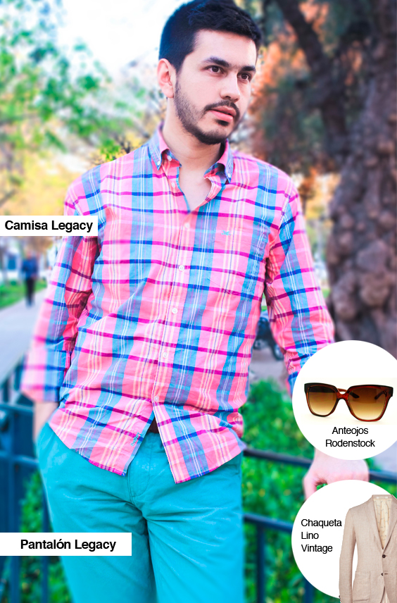 La camisa y el pantalón Legacy que elegí de la colección primavera verano , junto a mis accesorios extra, las gafas y la chaqueta de lino.